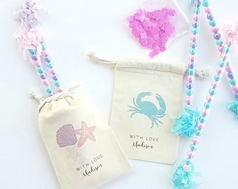 UNDER THE SEA - Personalized Favor Bags - Set of 10 - Birthday - Crab - Seahorse- Octopus - Shells