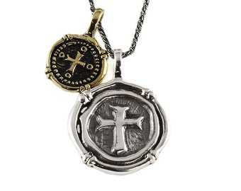 Wax Seal Necklace Sterling Silver Cross Necklace Mens Jewelry