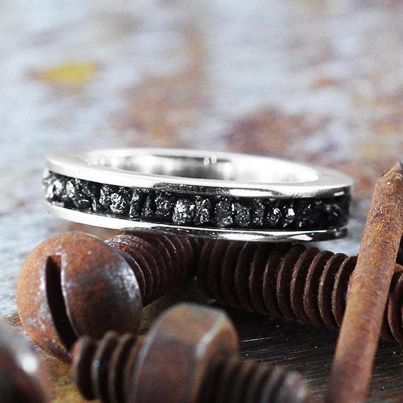 Black Diamond Ring Uncut 14k White Gold Wedding Band Set Personalize Jewelry