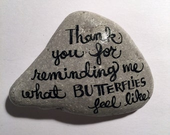 butterflies handpainted rock
