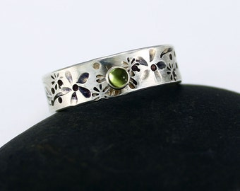 """Size 8.75 Handcrafted Sterling Silver Peridot Ring August Birthstone Hand Stamped """"Hidden Garden"""" Contemporary Artisan Jewelry 072043879413"""