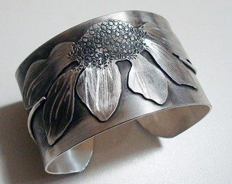 Handcrafted Sterling Silver Wide Cuff Bracelet Coneflower Echinacea Sculptural Design One of a Kind Artisan Handcrafted Jewelry 984758636516