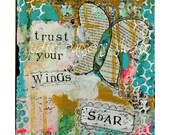 Original mixed media collage canvas/ painting/ art canvas/ soar