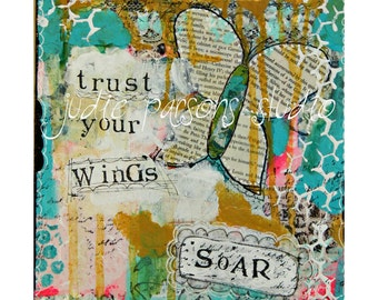 Original Butterfly art canvas,mixed media collage, kids room,  wall art, painting,  trust your wings soar- by Judie Parsons