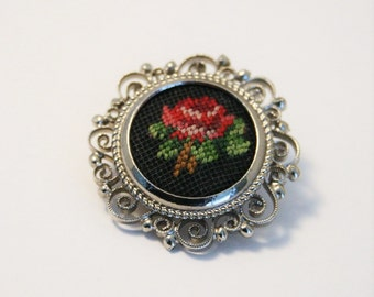 Vintage rose brooch.  Flower brooch.  Tapestry brooch