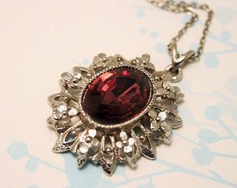 Vintage purple glass pendant. Flower pendant