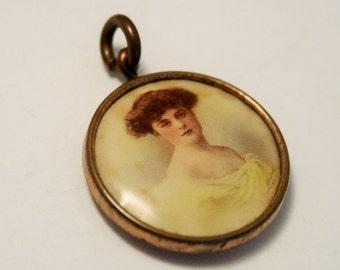 Edwardian lady pendant. Hand painted pendant