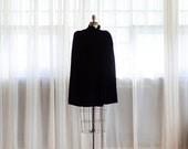 30% OFF SALE - 1940s Silk Velvet Cape - Vintage 40s Cape - Femme Noir Velvet Cape