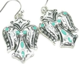 Winged Cross Earrings, Turquoise Earrings, Stamped Cross Wing Earrings, Native, Tribal Earrings, Southwestern, Aztec, Wing Jewelry