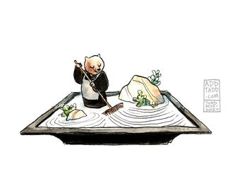 Tending The Garden -- Zen Monk Bear -- Digital Watercolor Print -- Fun Family Art