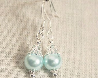 Handmade Aqua Earrings Aqua Pearl Earrings Aqua Bridesmaids Earrings Aqua Pearl Dangle Aqua Wedding Jewelry