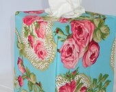 "Ready To Ship - ""Flirt Rose Print on Teal Background "" -  Tissue Box Cover"