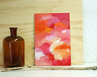 Moods abstract painting on small wooden panel - original - red orange colours - happy inspiring energy