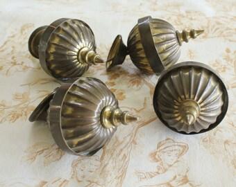 4 Antique Victorian Brass Curtain Rod  Finials