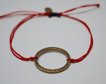 Circle Bracelet, Antique Brass Circle Bracelet, Adjustable Circle Bracelet