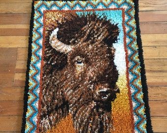 Vintage Latch Hook Rug ~ Buffalo