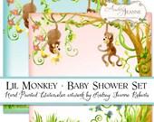Monkey Digital Baby Shower Boy or Girl invitations E16-06A game sheets bingo scramble, 12 inch paper, monkeys jungle animals vines