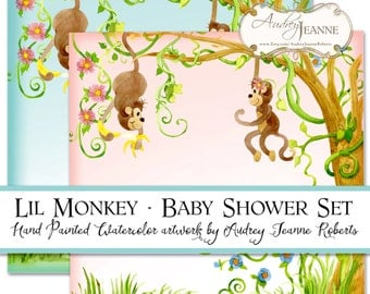 Monkey Digital Baby Shower Boy or Girl invitations E16-06A game sheets bingo scramble, 12 inch paper, monkeys jungle animals vines