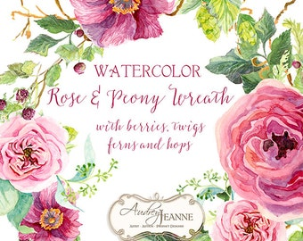 Watercolor Boho Floral Wreath Digital Clip Art Clipart, Bohemian Printable, peony flower, Rose Floral, twigs leaves berry raspberry