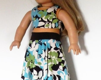Floral Maxi Skirt with Crop Top fits American Girl Doll Clothes 18""
