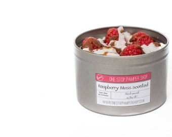Raspberry Mess, candle in a tin, dessert candle, gift ideas, vanilla scented, chocolate fragrance