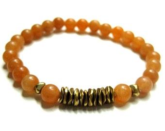 Red Aventurine & Brass Bracelet / Stone Stacking Bracelet / Semi Precious Beadwork / Layering Stretch Bracelet