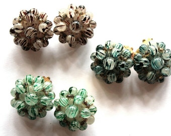 1950s Beaded Earrings // 50s 60s Abstract Bubble Earrings //  New Old Stock // Clip On