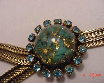 Vintage Blue & Gold Rhinestone Bracelet Has Old Repair     16 - 162
