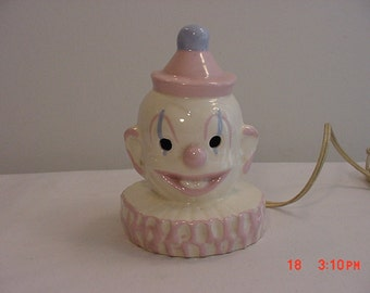 Vintage Clown Accent Or Night Light  In Working Condition  16 - 195
