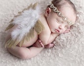 Newborn feather butterfly wing set  golden feather wings rhinestone headband