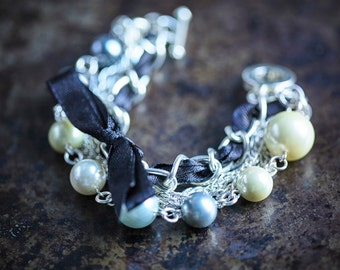 Yellow and Grey Shell Pearl Beads, Chains and Black Satin Ribbon Bracelet