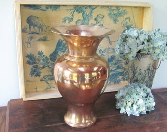 Vintage Brass Urn, Large Solid Brass Vase