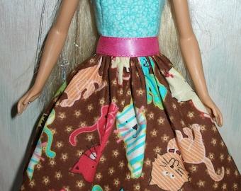 Handmade Barbie clothes - aqua, pink and brown cat dress