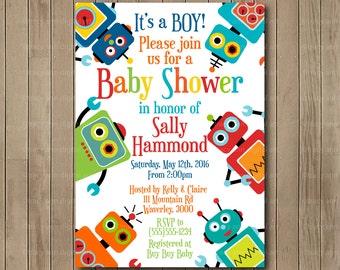 Robot Baby Shower Invitation, It's a boy! Printable Baby Shower Invitation, DIY, Robot shower 0480