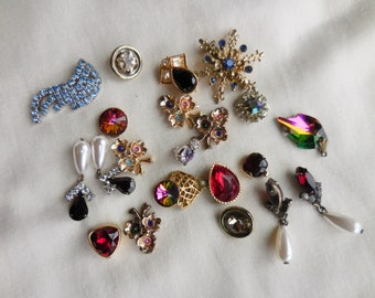 Destash RHINESTONE Craft Lot Altered Assemblage for Repurposing Jewelry Making