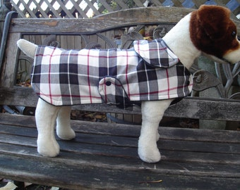 White Black and Red Plaid Coat with Snaps - Size Small- 12 to 14 Inch Back Length