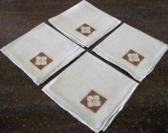 4 Vintage Linen Luncheon Napkins Rolled Stitched Hem Edge Cross Stitched Box Floral Pattern Design 11 x 11 Circa 1950's
