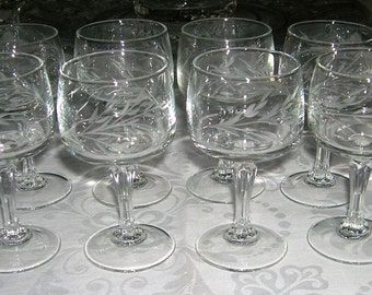8 Vintage  Cristal D'Arques-Durand Riviera Pattern Cordial Glasses Gray Cut Leaf Branch Pattern 6 Sided Stem Circa 1960's