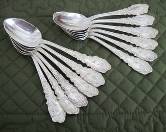 "12 Antique Vintage Rogers Silverplate Teaspoons Aldine Pattern Circa 1890's With Monogram ""M/H"""