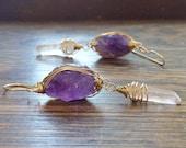 Amethyst earrings, February birthstone earrings, raw amethyst and crystal point dangles