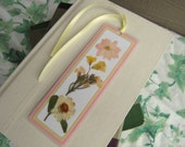 Pressed Flower Laminated Bookmark Pink and Yellow Collage Style