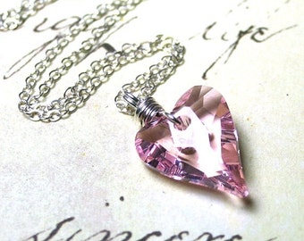 ON SALE Swarovski Crystal Wild Heart Pendant in Rosaline Pink - Handmade with Swarovski  Crystal and Sterling Silver
