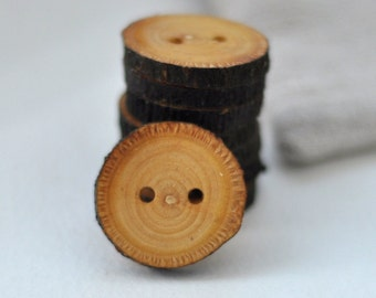 set of 8 linden wood buttons • tree branch buttons • handcrafted wooden button