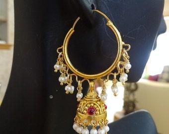 Jaipur jhumkas-J473- Gold Vermeil Hoop Jhumkas with Freshwater Pearls