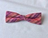 Clip-On Skinny Silk Coral Orange Pink Plaid Bow Tie Pre Tied Premium Mens Bowtie Groomsmen Groom Men Teen Boy Baby Kid Gift Wedding