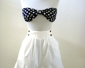 RESERVED Vintage 80s Two Piece Swimsuit Nautical White Shorts Cover Up - Blue and White Polka Dot Swimsuit with Bandeau Top - Size Medium 14