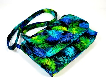 Small Messenger Bag for Women, Jewel Tone Feathers on Black, Mini Crossbody Bag, Fabric Purse, Cotton Cross Body Bag, Small Pocketbook