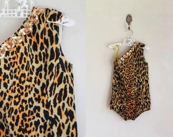 vintage 1960s girl's leotard - MEOW leopard costume / 6yr