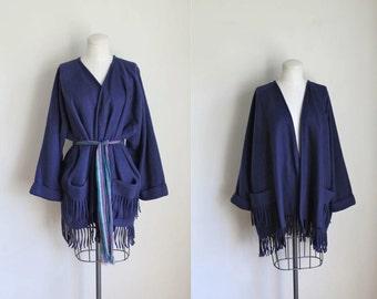 vintage fleece wrap coat - BLANKET fringed navy shawl cardigan / S-M-L