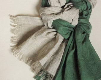 Green gray scarf long washed wrinkled linen scarf frayed men's scarf all season women's shawl